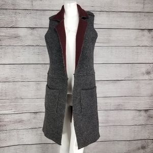 MOTH Morris XS/S Long Open front Vest Duster Wool